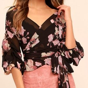 Lulu's Blush Pink & Black Floral Wrap Top
